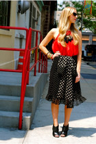 red top - black skirt