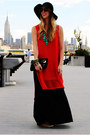 Black-dress-red-dress-bronze-sandals