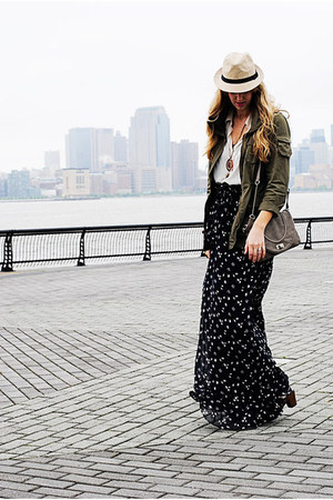 olive green jacket - off white top - navy skirt
