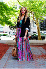 Navy-blazer-turquoise-blue-top-hot-pink-skirt-bronze-sandals