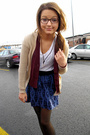 Blue-forever-21-skirt-white-hanes-t-shirt-beige-cardigan-red-my-moms-vest