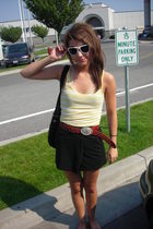 abercrombie and fitch top - thrifted skirt - thrifted belt - Target sunglasses -