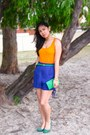 Blue-h-m-shorts-chartreuse-charles-keith-heels