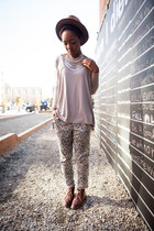 silver coin bib necklace - off white dalmatian print pants - beige t-shirt