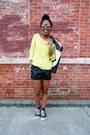 Black-croc-shorts-white-moto-jacket-yellow-sweater