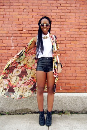 floral cardigan jacket - black faux leather H&M shorts