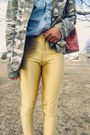 Light-blue-vintage-shirt-dark-khaki-camo-jacket-gold-disco-vintage-pants