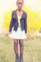 neon t-shirt - hi-low jacket - pleated skirt