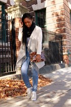 blue high waisted Cheap Monday jeans - beige draped cardigan BB Dakota jacket