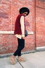 Crimson-fuzzy-vest-brown-flatform-jeffrey-campbell-wedges