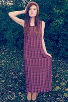 brick red plaid maxi thrift dress - mustard fringe ankle Forever 21 boots