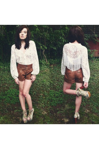 white shirt - brown Forever 21 shorts - off white Jeffrey Campbell heels