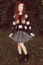 black daisy print Chictopia sweater - black wyman Jeffrey Campbell boots