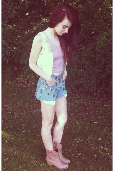 light pink thrift boots - light blue Levis shorts - eggshell thrift vest
