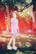 blue thrifted dress - light pink Jeffrey Campbell shoes