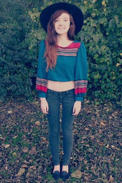 teal crop gypsy thrift top - black basic skinny Bullhead jeans