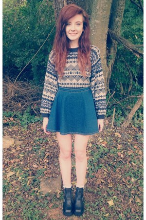 navy printed knit thrift sweater - black H&M boots - silver k bell socks