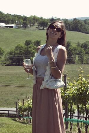 light blue vintage purse - ivory lace H&M vest - light pink ark and co skirt