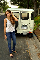 white polka dot vintage shirt - Seven For All Mankind jeans
