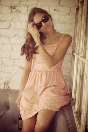 tan Luxury Rebel boots - peach vintage dress