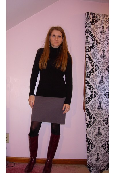 0f004acc17e black H M sweater - gray American Apparel skirt - black tights - red franco  sart
