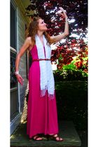 pink Forever 21 dress - white Forever 21 scarf - brown Nine West shoes - pink gi