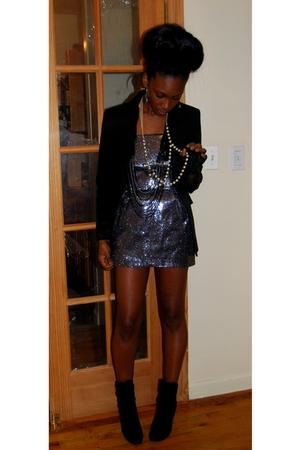 silver karina plastinina dress - black Zara blazer - green Laila Rowe earrings -