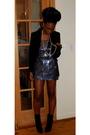 Silver-karina-plastinina-dress-black-zara-blazer-green-laila-rowe-earrings-