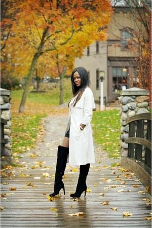 trench coat coat - suede sam edelman boots - H&M romper