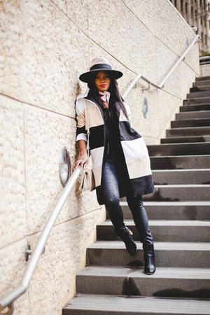 H&M hat - Nordstrom boots - romwe coat - JCPenney bag