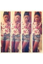 DIY shorts shorts - floral H&M shirt