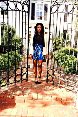 wrap thrifted vintage skirt - tuxedo 31 Phillip Lim blazer - mesh DKNY top