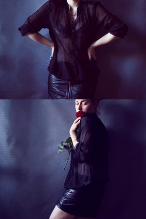 black leather reserved skirt - black chiffon c&a blouse