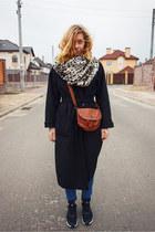 black no brand coat - beige reserved scarf - black nike sneakers