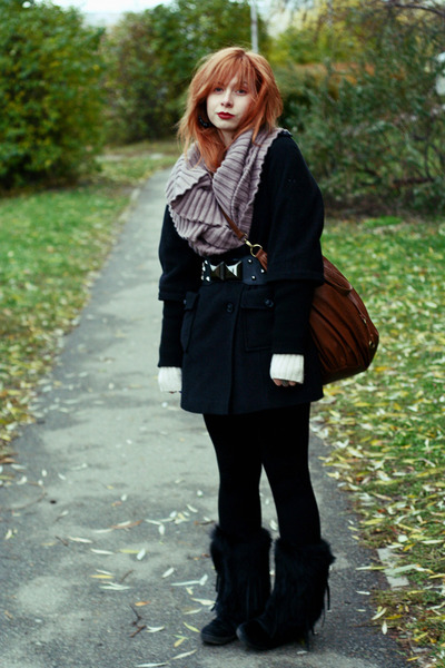 brick red Zara bag - black no brand coat - tan no brand scarf