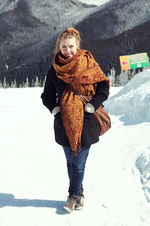 black no brand coat - burnt orange Indian scarf - brown nike sneakers