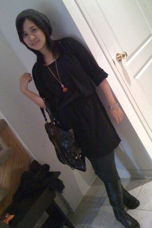 Old Navy dress - Aldo boots - Zara tights - Escada-bag accessories - H&M -hat ac