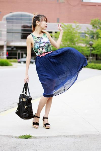 Nordstrom skirt - Michael Kors bag - Michael Kors wedges - H&M top