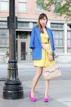 blue Nordstrom blazer - mustard H&M dress - red Forever 21 belt