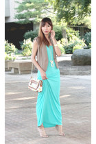 white Aldo bag - aquamarine Forever 21 dress - nude BCBGeneration heels