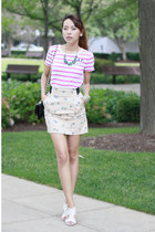 abercrombie and fitch t-shirt - H&M skirt - Michael Kors wedges