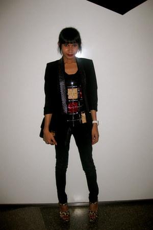 studded Zara blazer - Mango jeans - leopard print Topshop heels