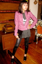 Zara jacket - warehouse leggings - vintage purse - Nine West West shoes
