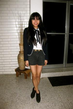 black Topshop boots - navy Zara blazer - white Mango blouse