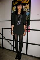 black Zara blazer - silver department store top - black Celine leggings - black