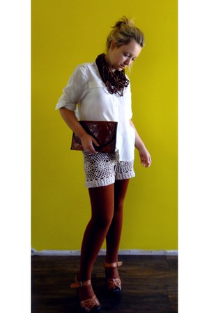 handmade shorts - vintage bag - H&M sandals - handmade necklace - Topshop blouse