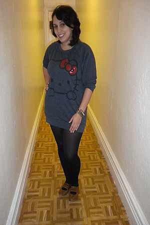 black K-mart stockings - brown Charlotte Russe shoes - gray H&M sweater