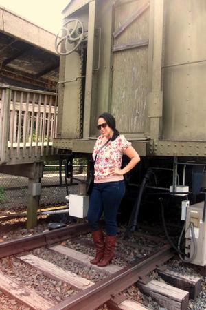 pink Forever 21 t-shirt - pink Forever 21 t-shirt - blue delias jeans - brown Ba