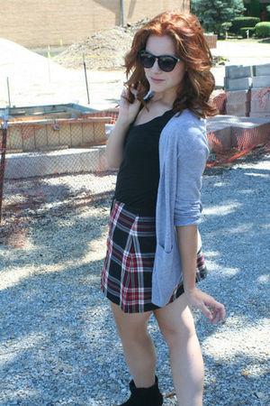 gray Old Navy cardigan - red skirt - black Target t-shirt