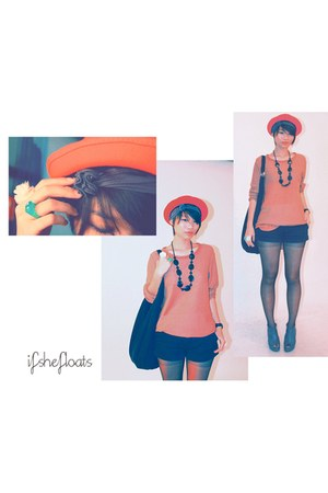 black Forever 21 shorts - bowler hat korea hat - hobo black bag cotton on bag